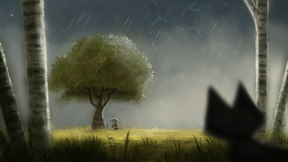 Фото Черный котенок под дождем наблюдает за мальчиком, by Cryptid-Creations