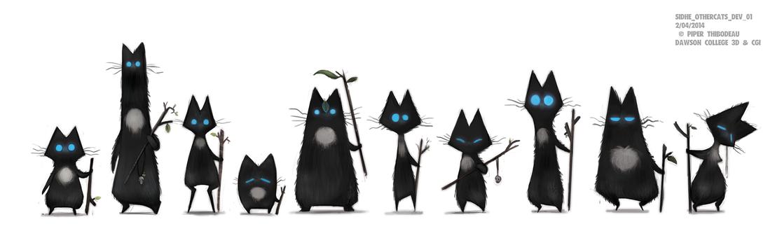 Фото Множество черный котов с голубыми глазами, by Cryptid-Creations