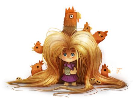 Фото Маленькая Рапунцель с петухами, курицами и цыплятами в волосах, by Cryptid-Creations