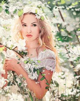 Фото Девушка у весенней ветки, by ArthurHenri