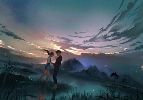 Фото Влюбленные стоят на фоне природы, by Jyundee
