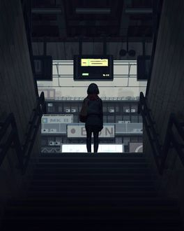 Фото Девушка с сумкой на плече стоит в конце ступенек, by GUWEIZ