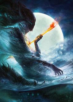 Фото Тиамат - женское олицетворение первобытного океана-хаоса соленых вод с огненной стрелой, by exellero