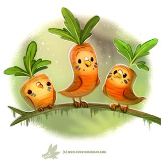 Фото Три морковных попугайчика на веточке, by Cryptid-Creations