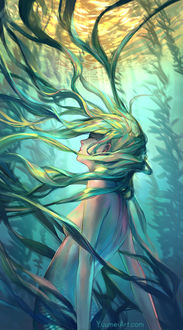 Фото Девушка с развевающимися волосами, by Yuumei