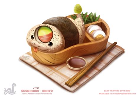 Фото Суши змея в обеденной коробке (Sushinoko - Bento), by Cryptid-Creations