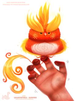 Фото Огненная птица сидит на пальце руки (Celestatiels - Sunfire), by Cryptid-Creations