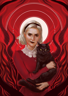 Фото Sabrina Spellman / Сабрина Спеллман с Салемом на руках, by 2MindsStudio