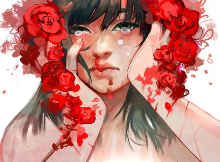 Фото Портрет девушки с розами на голове, by zephy0