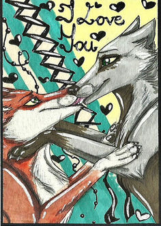 Фото Лиса целуется с волком (I Love You / я люблю тебя), by Ra-Cal