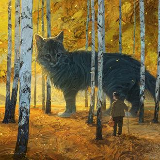 Фото Мужчина стоит в березовой роще перед огромным котом, by Artem RHADS Chebokha