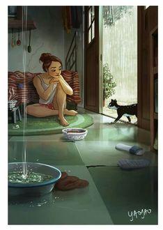 Фото Девушка сидит на полу и смотрит на кошку, by Yaoyao Ma Van As