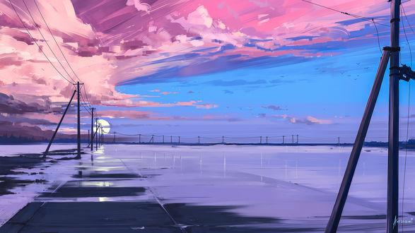 Фото Работа Endless / бесконечность, розовое облачное небо над землей, by Alena Aenami