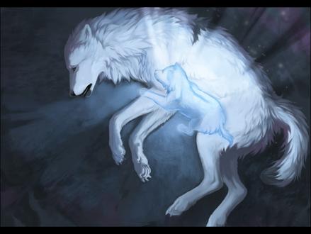 Фото Волчонок рядом с умирающей волчицей, by OneMinuteSketch