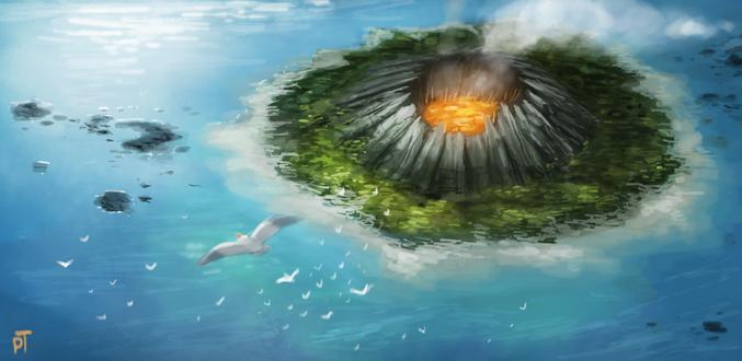 Фото Вулкан вокруг которого зелень и море, над ним летают чайки, by Cryptid-Creations