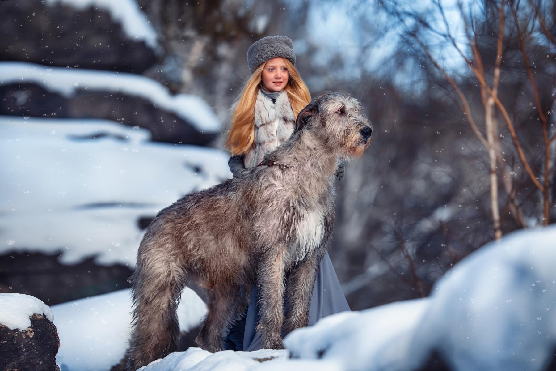 Фото Девочка стоит рядом с собакой. Фотограф Бармина Анастасия