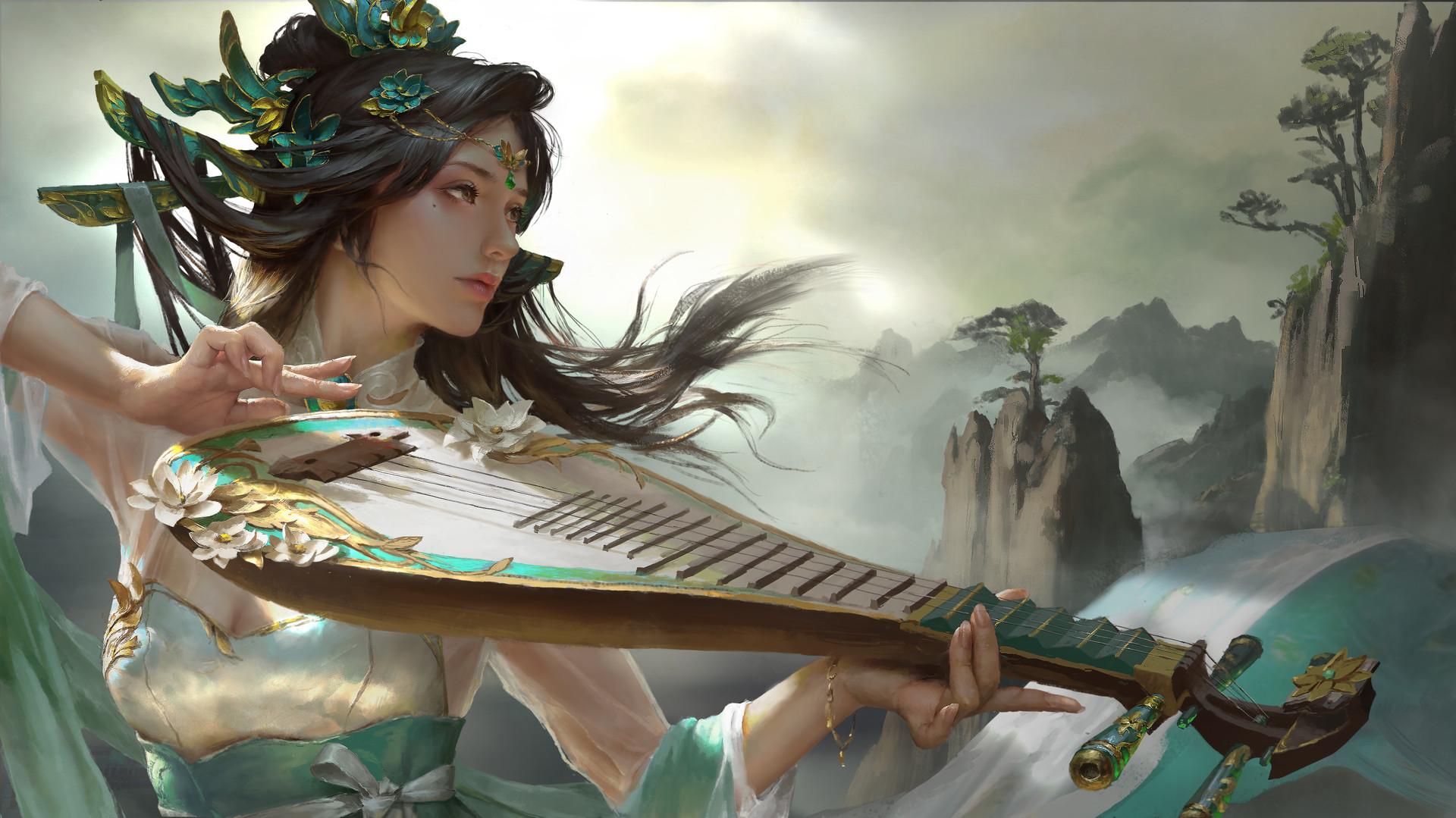 Фото Девушка с музыкальным инструментом, by Ley Bowen