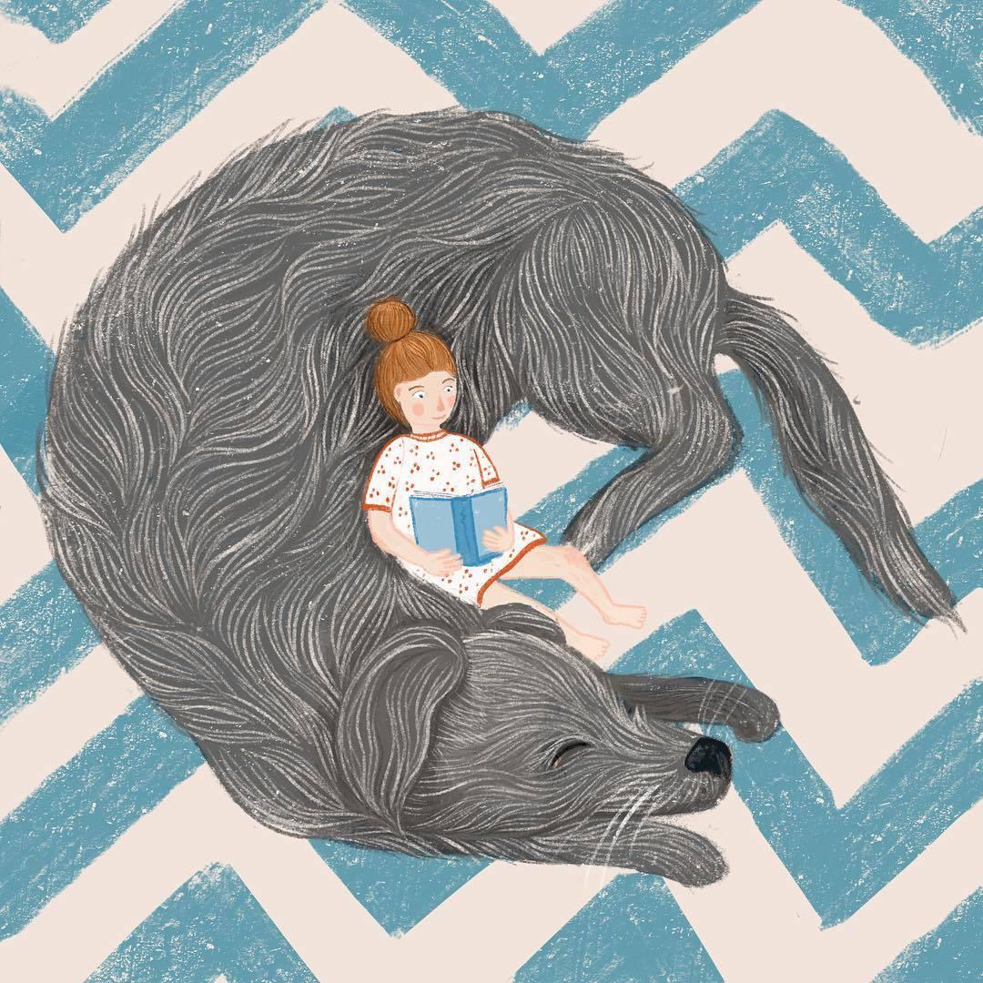 Фото Девочка сидит у спящей собаки, by Agi Ofner