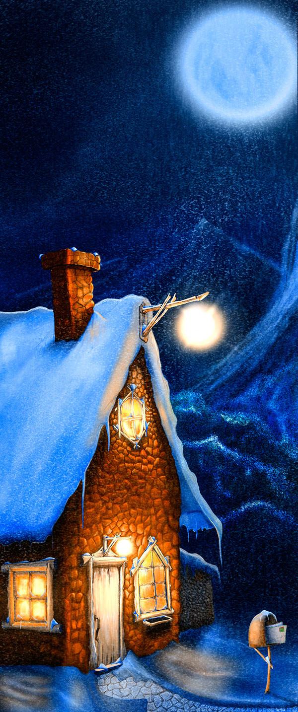 Фото Домик с горящим фонарем под ночным небом с луной, by Carlos Quevedo