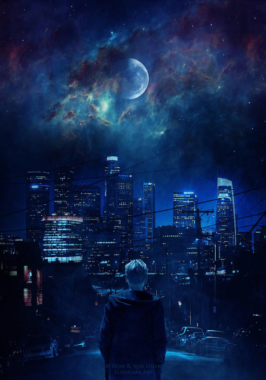 Фото Парень стоит на фоне ночного города под луной, by Ellysiumn