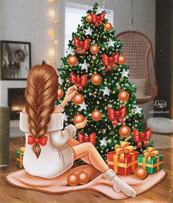 Фото Девушка с длинной косой украшает елку