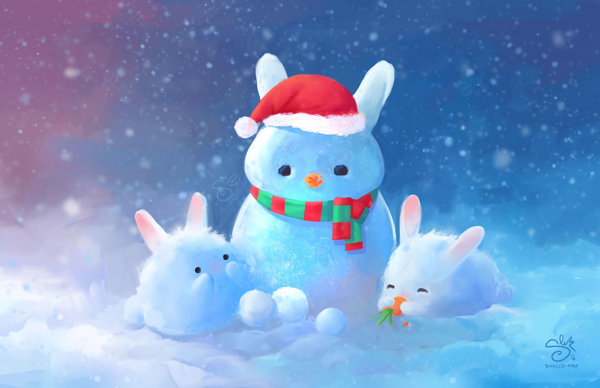 Фото Снежные зайчики с колпаком и морковкой, by Shellz-art
