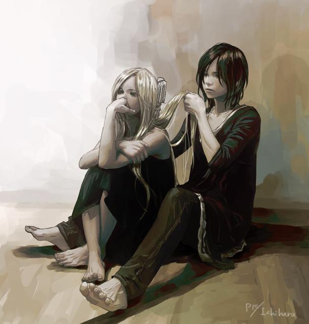 Фото Темноволосый парень расчесывает волосы белокурой девушки, сидя на полу, art by Ichihara Yuuki
