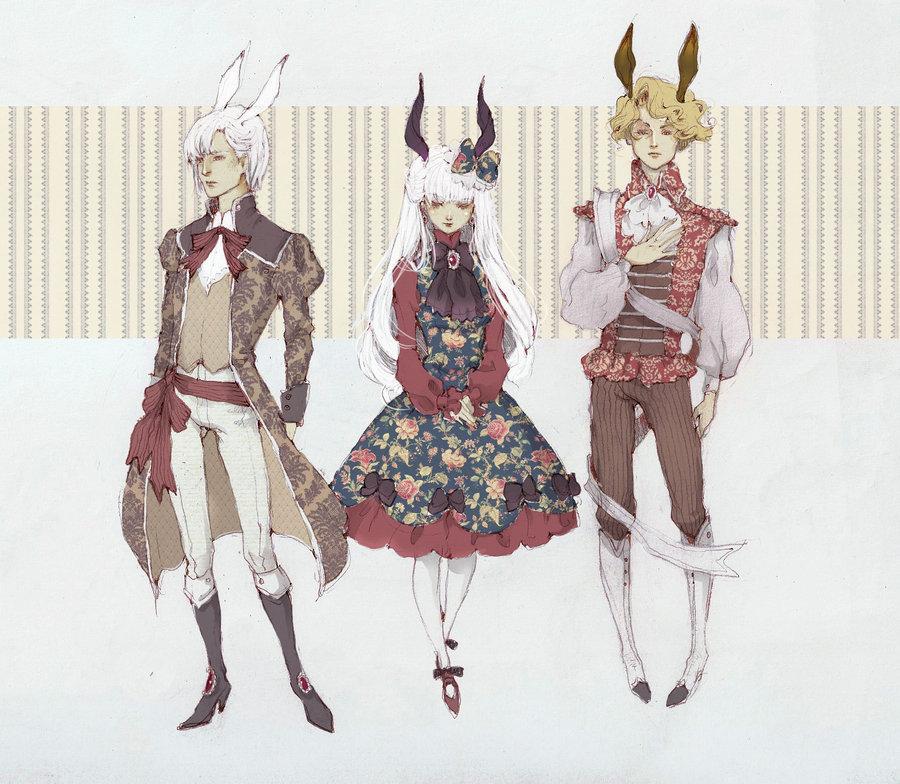 Фото Два парня с кроличьими ушами и девушка с рогами, одетые в викторианском стиле, art by Loputyn