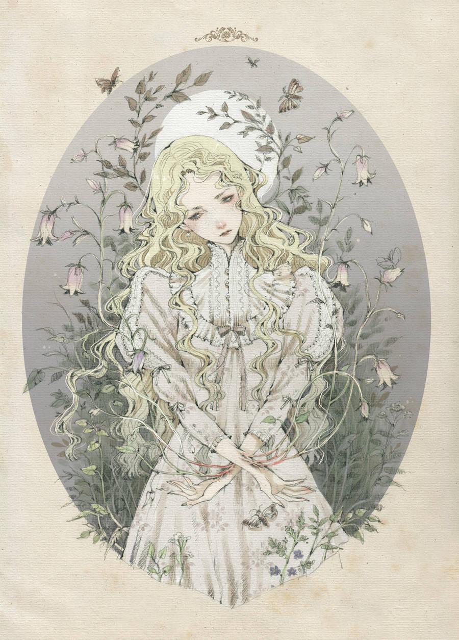 Фото Светловолосая девушка, одетая в викторианском стиле, со скрещенными руками, из вен которых растут колокольчики, стоит под луной, art by Loputyn