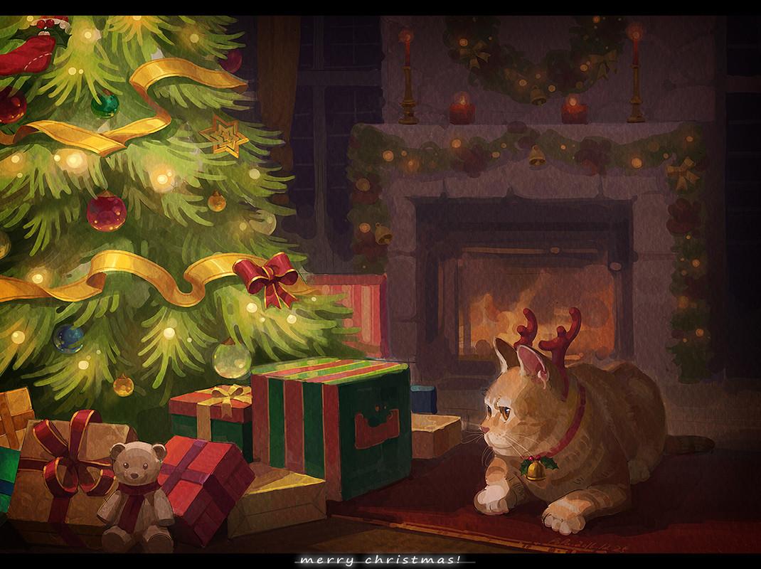 Фото Рыжий кот с оленьими рожками смотрит на подарочки у елки (Merry Christmas / Счастливого Рождества), by Tiziano Zhou