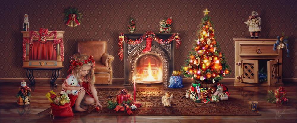 Девочка играется у Новогодней елки в комнате с зажженным камином, by inSOLense