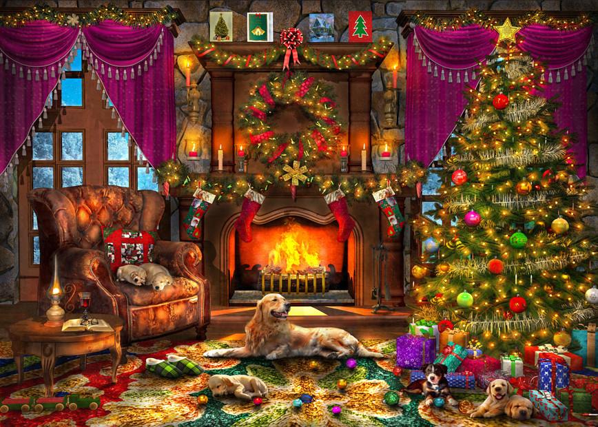 Фото Золотистый ретривер и щенки отдыхают в комнате с горящим камином, украшенной к Новому Году, by Dominic Davison
