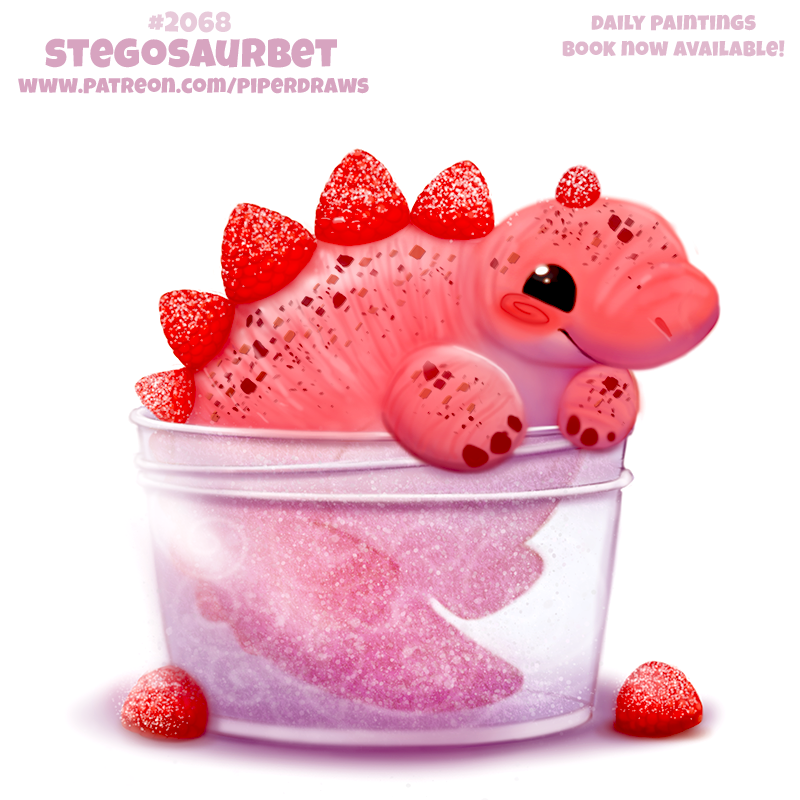 Фото Розовый динозаврик в прозрачной банке, возле которой лежит две клубнички (Stegosaurbet), by Cryptid-Creations