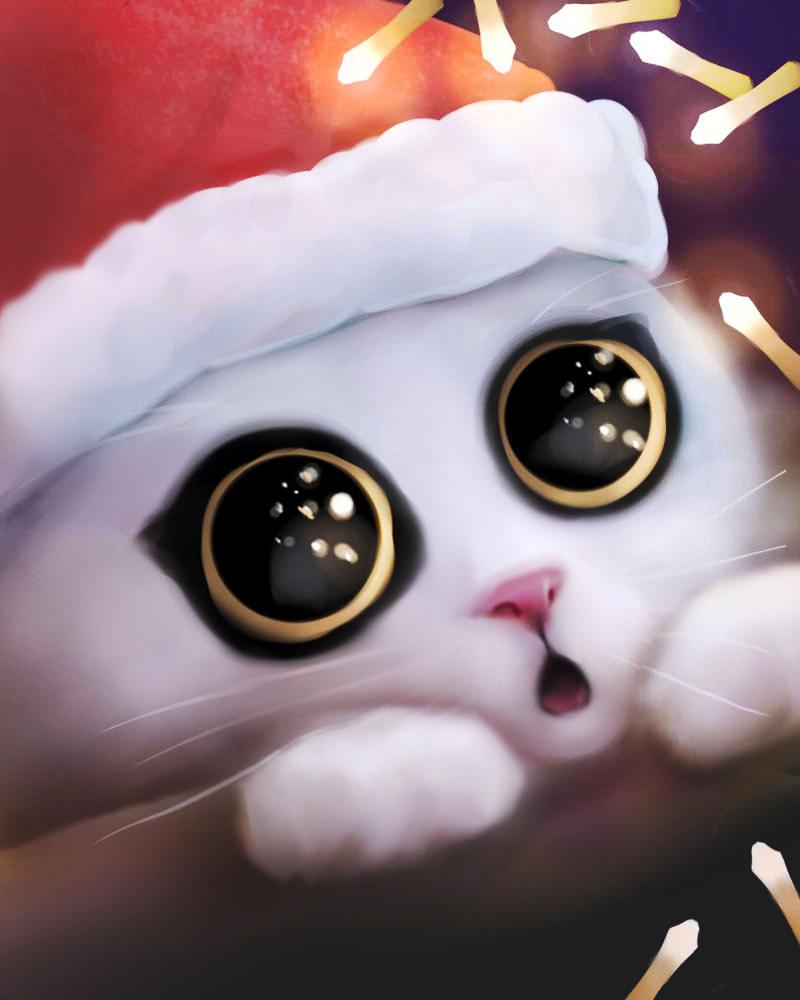 Фото Удивленный котенок в новогодней шапочке, by Nneila