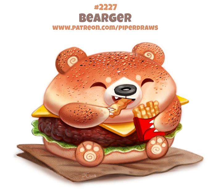 Фото Гамбургер-мишка ест картошку-фри (Bearger), by Cryptid-Creations