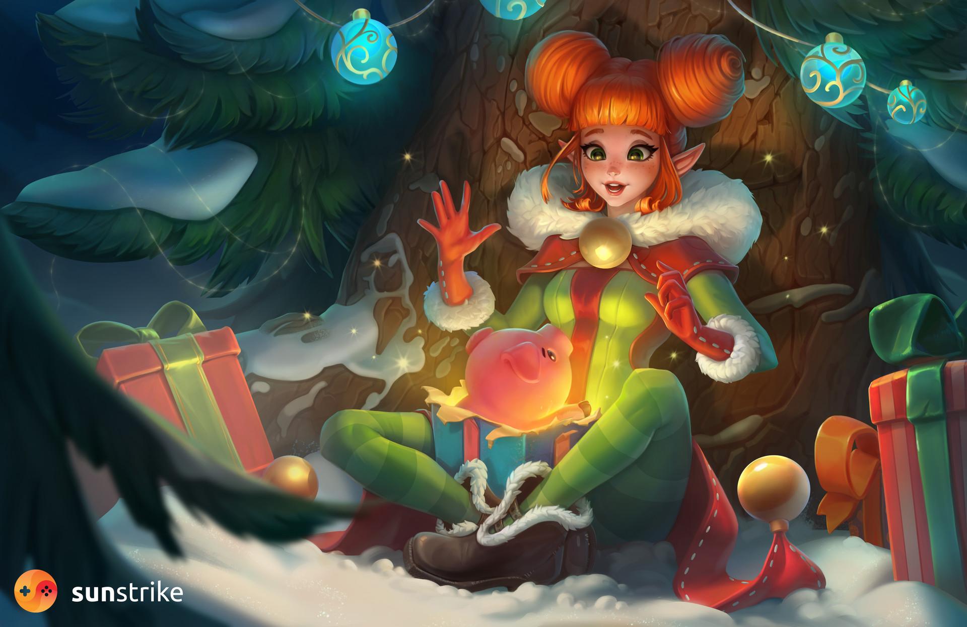 Фото Изумленная эльфийка, сидя под новогодней елкой, находит в рождественской коробке хрюшку, by SunStrike Studios