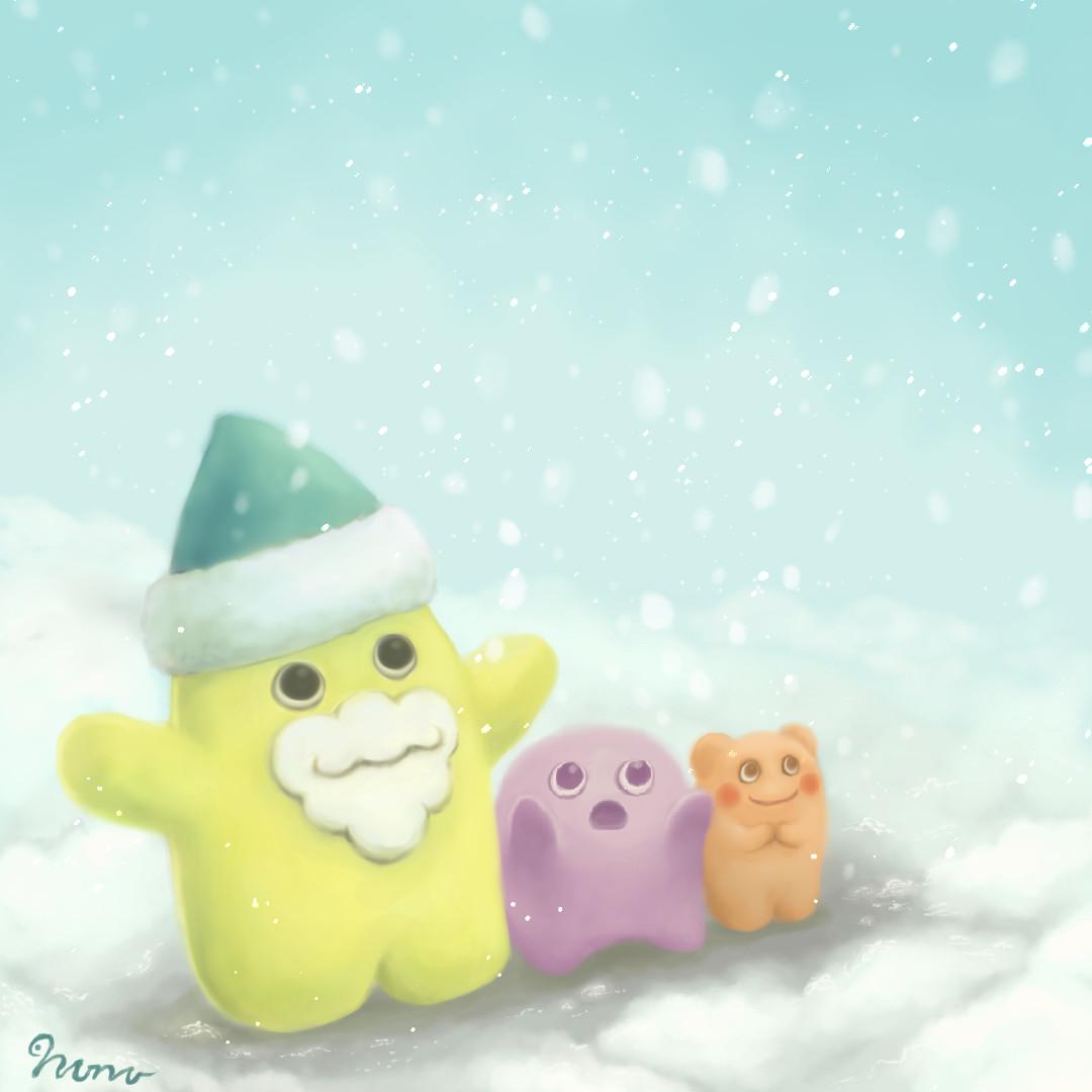 Фото Три милых чудика, радующихся снегу