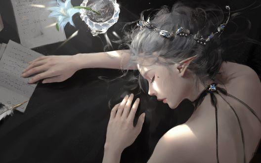 Фото Девушка-эльфийка с закрытыми глазами, by Wlop