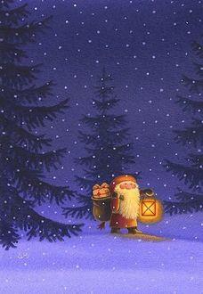 Фото Дед Мороз с фонарем и подарками идет по снегу, by Eva Melhuish