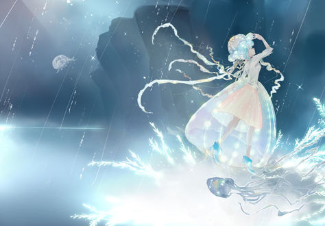 Фото Девушка с голубыми волосами стоит под дождем, by Akemori Kiko