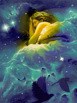 Фото Девушка спит в космосе, by robrey