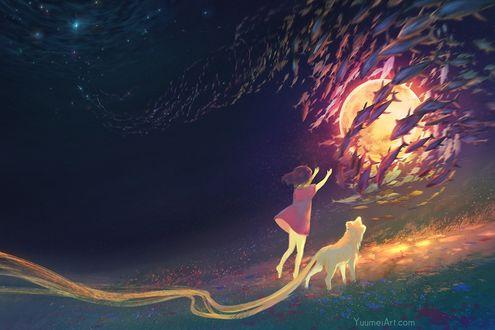 Фото Девочка с длиннохвостой лисой смотрят на множество рыб на фоне полной луны, by Yuumei_Art