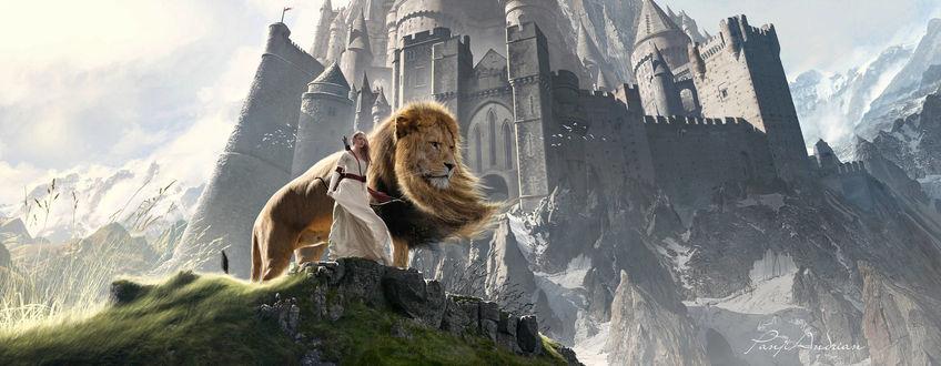 Фото Susan and Aslan / Сьюзан и Аслан из фильма Нарния / Narnia, by panjoool