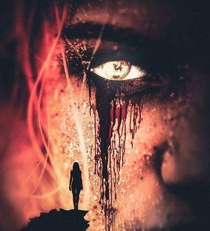 Фото Силуэт девушки на фоне плачущего лица со светящимся глазом