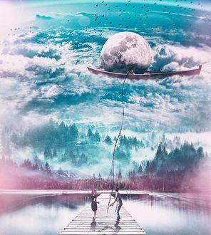 Фото Девочка с мальчиком на мостике и в руке у него лодка с полной луной