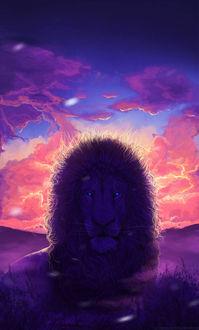 Фото Голубоглазый лев на фоне заката, by Lesventie