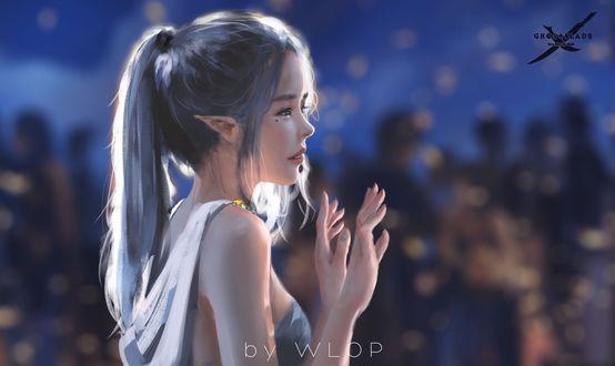 Фото Девушка-эльф стоит на фоне боке, by WLOP
