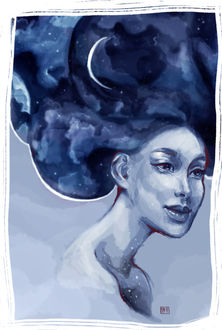 Фото Девушка с звездным небом и месяцем в волосах, by Dayi Tofu