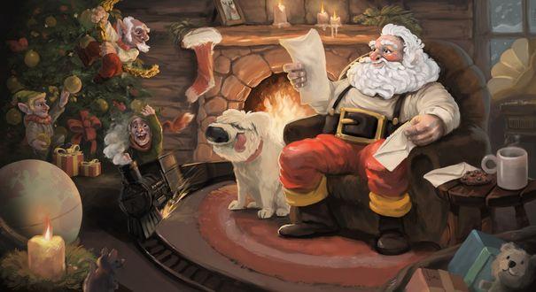 Фото Санта-Клаус / Santa Claus читает детские письма сидя у камина со своим псом, а на елке шалят эльфы, by Jimu Art