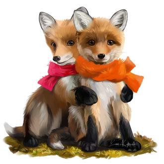Фото Две лисички в шарфах, by Kajenna